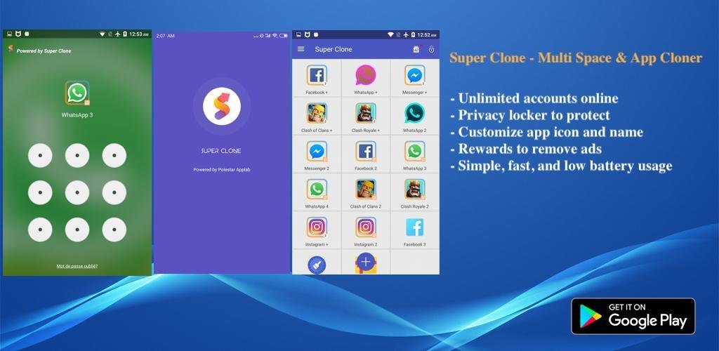 دانلود Super Clone premium - اپلیکیشن کلون بازی و برنامه در اندروید
